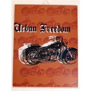 Urban Freedom Motorcycle Metal Tin Sign Home & Kitchen