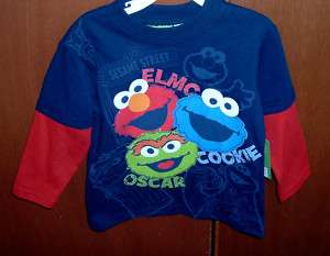 SESAME STREET ELMO COOKIE MONSTER OSCAR SHIRT 3T 4T NWT