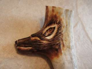 DEER ANTLER HORN KNIFE HANDLE CARVED 3 D WOLF HEAD NEW CARVING! FREE