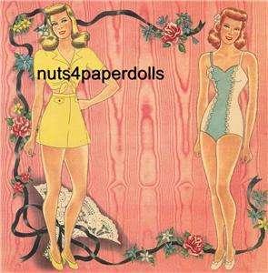VINTAGE 3 PRETTY GIRLS PAPER DOLLS LAZER REPRO ORG SZE