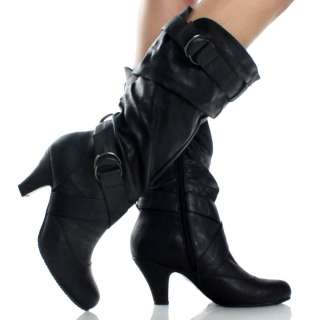 Mid Calf Buckle Kitten High Heels Faux Leather Womens Slouch Boots