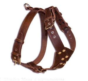 Brown High Quality Leather Walking Dog Harness 33 37 Large wide