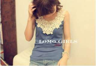 2012 New Korea Girls Lace Flower Stitching Lady Inner Vest 7312