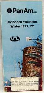 PAN AM AIRLINES CARIBBEAN VACATIONS BROCHURE GUIDE WINTER 1971 1972