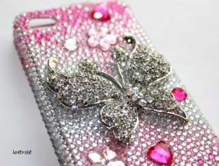 Diamond Crystal Bling Case Cover Pink Silver Butterfly Gradient
