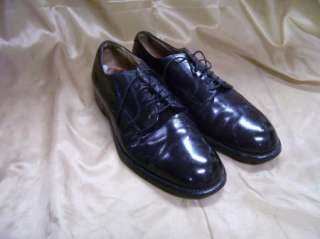 Vintage 1966 Mens Black Leather Oxford Shoes 7 R