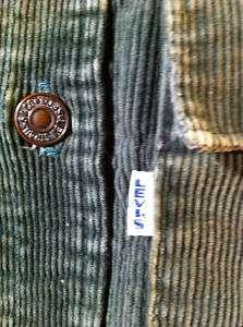 VINTAGE LEVIS 1960S BIG E GREEN CORDUROY HIPPY SHIRT JACKET USA M