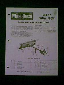 WHEEL HORSE SNOW PLOW SPR 42 PARTS MANUAL