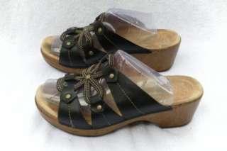Sarena black leather wedge heel sandals shoes size 39 / 8.5   9