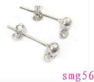 10pcs 925 sterling silver Earring POST stud /w ball Jewelry Findings