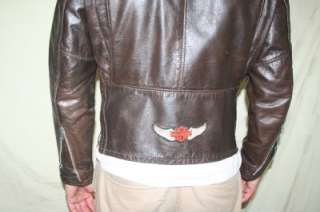 70s Vtg LESCO Harley USA Brown LEATHER Motorcycle CAFE Racer JACKET 40