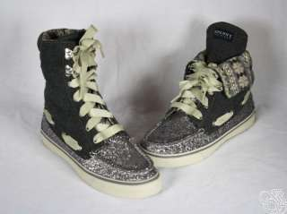 SPERRY Top Sider Acklins Charcoal Glitter Womens Boots Shoes New
