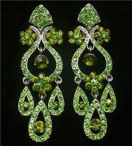 Green Swarovski Crystal Flower Long Chandelier Earring