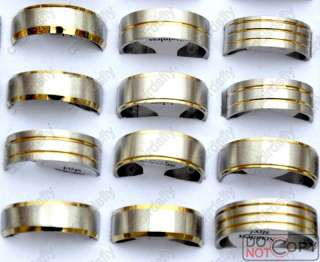 Wholesale Lot100 bicolor G&S Stainless steel Rings free