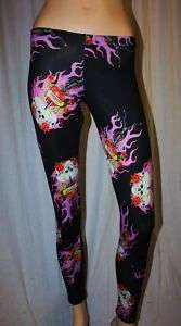FIRE SKULL ROSE WIRE TATTOO GOTHIC LEGGINGS INSANITY XL