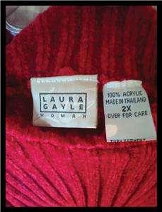 Red Super Soft Mock Turtle Neck Sweater Womans Plus SZ 2X Laura Gayle