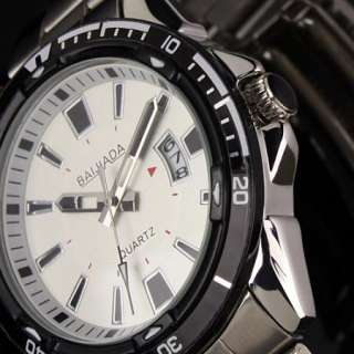 New Elegant Mens Stainless Steel White Dial Date Analog Quartz Mens