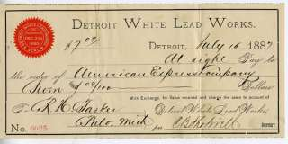 1887 Check Detroit White Lead Works to American Express