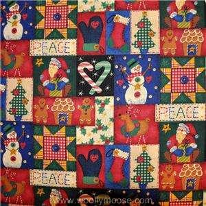 HALF YARD Santa Snowman Mitten Candy Cane Christmas Fabric 1/2 YD