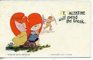 VALENTINES DAY POSTCARD F DERBES SUNBONNET SUE CHILDREN LE MARS IOWA