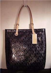 KORS MONOGRAM BLACK MIRROR METALLIC NORTH SOUTH ITEMS TOTE NWT