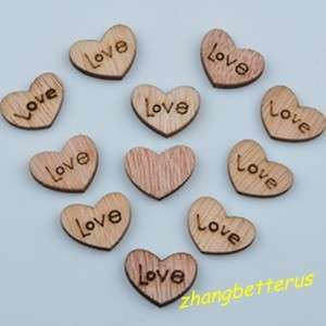100 Pcs Heart Wood Love Loose beads charms findings 15×12mm
