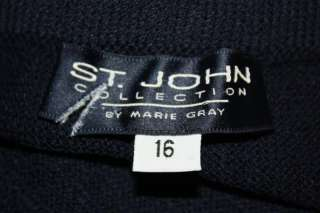 St John Collection Navy Blue Santana Knit Pants Size 16