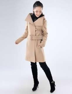 New Fashion Womens Temperament collar cashmere wool coat jacket