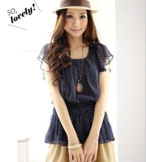 FREE SHIP S/M NEW Women Lady Navy Sheer Polka Dots Chiffon Blouse Top