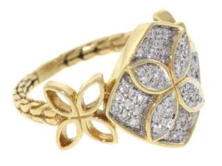 Authentic John Hardy Solid 18K Yellow Gold Diamonds Women Ring