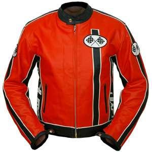NEU Motorrad Jacke MOTORRADJACKE retro LEDER KTM orange