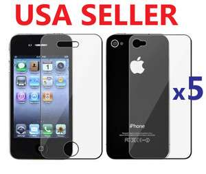 5X Clear Screen Protector Front+Back Cover Shield Full Body iPhone 4
