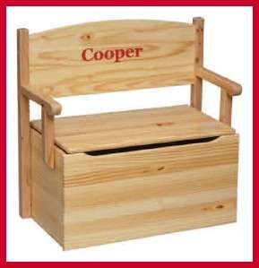 Little Colorado BENCH TOY BOX Kids Wooden PERSONALIZED