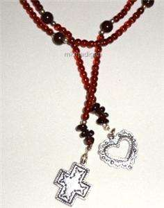 Sterling Silver Garnet Cross Heart Lariat Necklace N1294 Retired Boxed