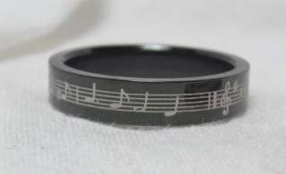 Stainless Steel Black 4mm Music Note Ring Band sz 4 s68