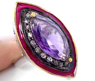 ORCHID PURPLE AMETHYST MARQUISE DIAMOND GOLD .925 SILVER VINTAGE RING