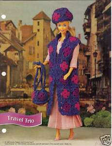 Crochet Fashion Doll Pattern TRAVEL TRIO OUTFIT