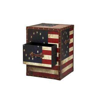 Home Decorators Collection Vintage American Flag Square Trunk 55521FLG