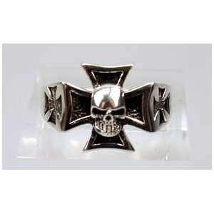 Damen u Herrenring Iron Cross Skull Schmuck für Fantasy Biker Fan