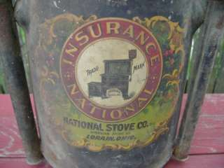 Antique Insurance National Stove Sanitary Top Lorain OH Fuel Tank