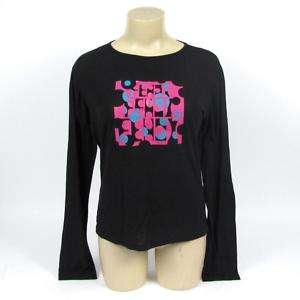 Fendi Black Long Sleeve T Shirt Top Print Modal/Wool 46