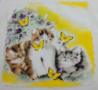 cute handkerchiefs with cat and butterfly design children cotton
