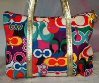 COACH POPPY POP C GLAM Signature OP ART Red Multi LG Tote Bag 13839