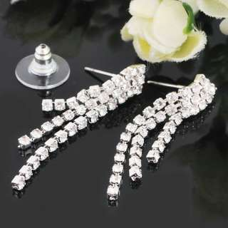 Wedding Bridal Rhinestone Clear Crystal Necklace Earrings Pierced