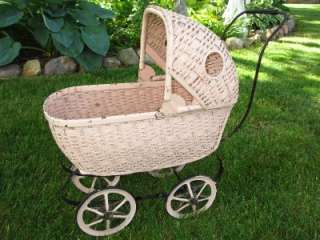 BEND TOY Rattan Wicker Baby Doll Carriage / Stroller Vintage