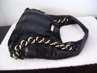 ID Chain Python Embossed Black Patent Leather Hobo Bag $448
