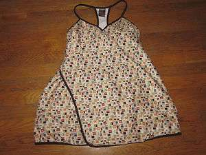 NIKE FUNKY UNIQUE TENNIS DRESS SQUARE SHAPES BROWN PEACH FUN SMALL S