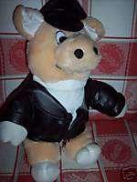 HARLEY DAVIDSON STUFFED PIG LEATHER LIKE JACKET & HAT