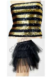 New Sexy Burlesque Girl Halloween Costume Bumble Bee Outfit Womens