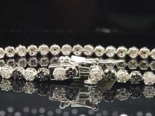 10K WHITE GOLD 2.36 CT BLACK & WHITE DIAMOND LINK BRACELET FLOWER 7.5